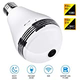 LUWATT Panoramic Light Bulb Camera 360 Degree Smart WiFi, 1080P HD Security Surveillance Camera with IR Motion Detection, Night Vision, Two-Way Communication for Home Baby Pets, Support 128G SD Card