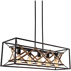 "Alice House 31.5"" Island Lighting, 5 Light Kitchen Pendant Lighting, Dining Room Chandelier, Pool Table Light, Brown Finish AL8061-P5"