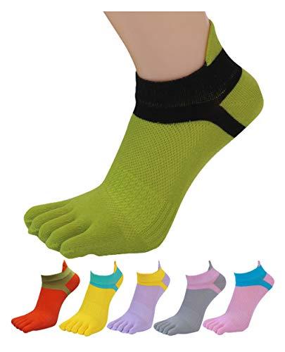 HONOW Women's Low Cut Toe Socks Ankle Cotton Running Socks(Pack of 6)