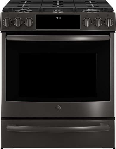 """GE Profile 4 Piece Kitchen Appliance Package with PFE28KBLTS 36"""" French Door Refrigerator, PGS930BELTS 30"""" Slide-in Gas Range, UVW9361BLTS 36"""" Hood and Built In Dishwasher in Black Stainless Steel"""