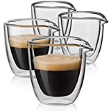 Easy Pour Espresso Cups Set of 4 - Insulated Coffee Shot Glasses with Spout (2.6 oz)