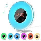 LED Alarm Clock Radio for Kids , Lorretta Wake Up Sunrise Simulator Touch Control Digital Light Alarm Clock with 6 Nature Sounds, 7 Color Light and FM Radio, White