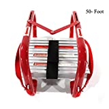 Portable Fire Ladder 5 & 6 Story Emergency Escape Ladder 50 Foot with Wide Steps V Center Support