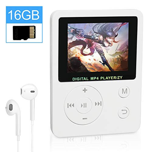 THUNDERGOD Portable MP3 Player 16GB MP4 Player 1.8'' LCD Digital Music Player with HiFi Sound Earphones Support Video Radio E-Book Recorder Picture