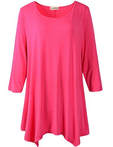 41EMR4FEOPL ONLY ITEMS SOLD BY LARACE BY LANMO ARE AUTHENTIC, BEWARE OF COUNTERFEIT SELLERS Basic round neck style 3/4 sleeve loose fitting top in solid colors. Lightweight soft fabric for a comfortable feminine touch / great match with leggings or skiny jeans.