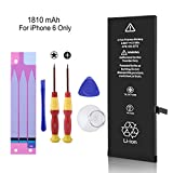 LIKEGOR Replacement Battery Compatible with iPhone 6,1810mAh A1586, A1589, A1549 Battery with Complete Repair Tool Kits, Instructions & Adhesive Strips-24 Months Warranty(IP 6 Only)