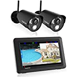 CasaCam VS802 Wireless Security Camera System with AC Powered HD Nightvision Cameras and 7' Touchscreen Monitor (2-cam kit)