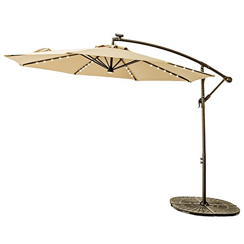 C-Hopetree 10ft Offset Cantilever Patio Umbrella, Hanging Outdoor Umbrella with 40 Solar Power LED Rib Lights, Central Hub Light, Crank Winder, Large Round, Beige