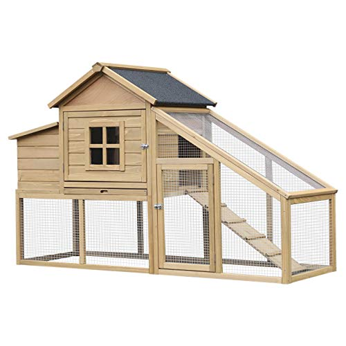 PawHut Outdoor Wooden Chicken Coop Hen House with Nesting Box and Run
