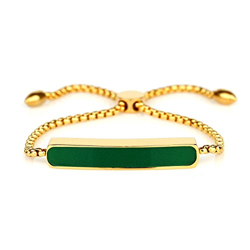 Stylish Designer Bracelet with Exquisite Emerald Green Inlay and Adjustable Bolo