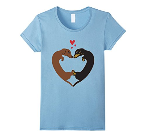 Womens Dachshund Heart Shirt - Valentine's Day Tee XL Baby Blue