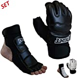 Sparring Set MMA Gloves Hand Foot Protector Taekwondo Sparring Gear for Martial Arts Punch Bag Kickboxing Foot Guards Karate Training Boxing Gloves Foot Gear for Men Women Kids XS-XL (X-Large, Black)