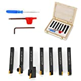 7pc 8mm Lathe CNC Turning Tool Chisel Steel Clamp Holder Lathe Cutting Cutter with Carbide Inserts