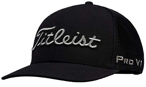 Titleist Men's Tour Snapback Mesh Golf Hat, Black/Charcoal