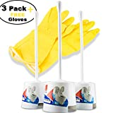 3 Pack toilet bowl brush set with holder - portable self standing basic white set with flexible handle & soft nylon bristles; Discreet and slim - Fits well - Eco friendly with free cleaning gloves