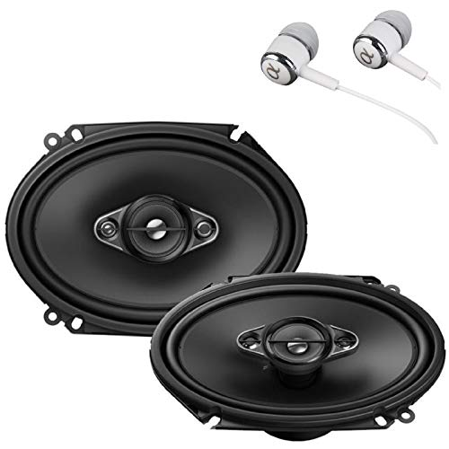 Pioneer TS-A6880F 6' x 8' 350 Watts Max Power A-Series 4-Way Car Audio Coaxial Speakers Pair with Fiber Cone Midrange/Free ALPHASONIK Earbuds