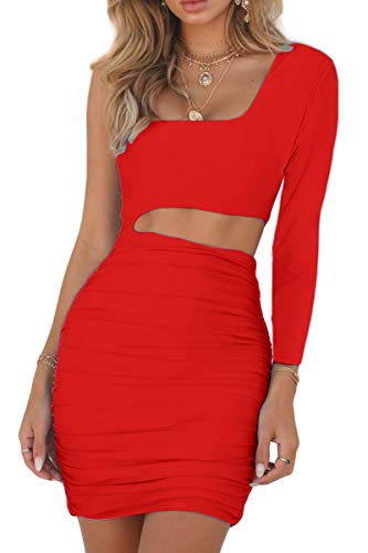 CHYRII Women's Sexy One Shoulder Sleeveless Cutout Ruched Bodycon Mini Club Dress 3 Fashion Online Shop gifts for her gifts for him womens full figure