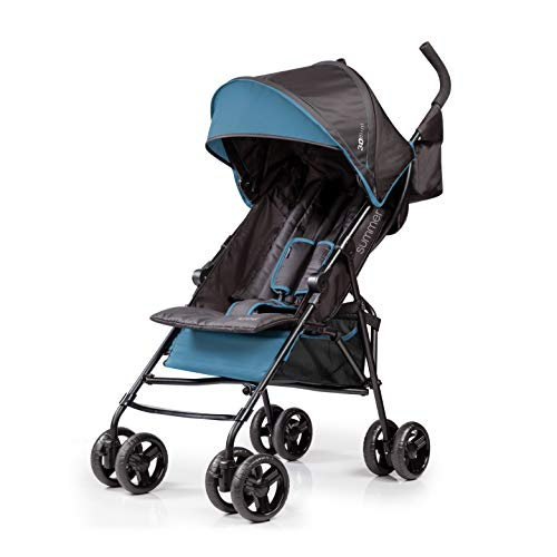 Summer 3Dmini Convenience Stroller, Blue/Black – Lightweight Infant Stroller with Compact Fold, Multi-Position Recline, Canopy with Pop Out Sun Visor and More – Umbrella Stroller for Travel and More
