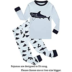Shark Big Boys Long Sleeve Pajamas Sets 100% Cotton Pyjamas Kids Pjs Size 8 Blue