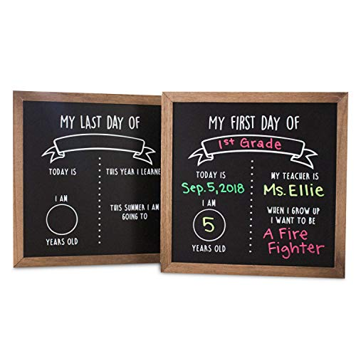 First and Last Day of School Reusable Chalkboard Sign | 12' x 12' Reversible Wood Framed Chalkboard | Back to School Photo Prop Board Double Sided