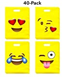 LiveEco Emoji Party Favor Bags 40-Pack (9x12), Great for Kids Birthday Parties, Celebrations, Fun Classroom Rewards & Treats, Carnivals, Games & Candy Goodie Grab Bag, Deluxe Emoticon Gift Supplies