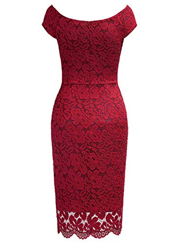 5161d81623f6 ... Miusol Women's Retro Deep-V Neck Ruffles Floral Lace Evening Pencil  Dress. New