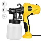 Electric Spray Gun,JOYTOOL Paint Sprayer,HVLP Home Electric Spray Gun W/ 3 Spray Patterns, 3 Nozzles, Flow Control Detachable Container ... (Yellow)