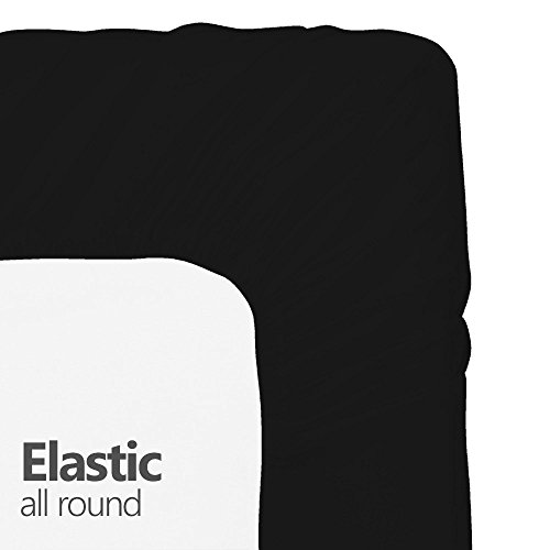 Crescent Bedding Twin Extra Long Fitted Sheet Only - Soft & Comfy 100% Cotton (Twin XL, Black)