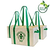 Green BD's Reusable Grocery Bags. Large, Heavy Duty and Spillover Proof. Eco-Friendly Collapsible Shopping Box Bags with Fold Up Reinforced Bottom. (Taupe Set of 3)