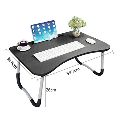 41EyJ1DYiOL - Barbieya Notebook Table Dorm Desk, Dormitory with Small Desk, Bed with Laptop Table, Folding Table, Breakfast Tray Reading Stand Desk with Cup Slot (60 × 40cm)