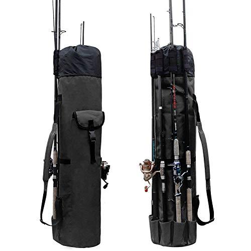 Lixada Fishing Bag Fishing Rod Reel Case Carrier Holder Fishing Pole Storage Bags Fishing Gear Organizer Travel Carry Case Bag