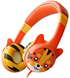 Kidrox Tiger-Ear Kids Headphones - Wired Headphones for Kids, Toddlers, 85dB Volume Limited, Adjustable Headband, Tangle Free Cable - Childrens Earphones on Ear