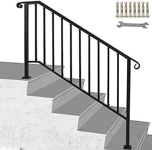 Happybuy Handrail Picket 4 Fits 4 Or 5 Steps Matte Black Stair | Handrails For Outside Steps | Single Step | Rustic | Aluminum | Front Porch | Walkway