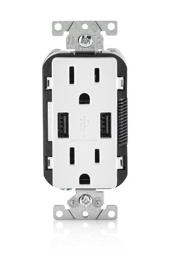 Leviton T5632-W 15-Amp USB Charger/Tamper Resistant Duplex Receptacle, White