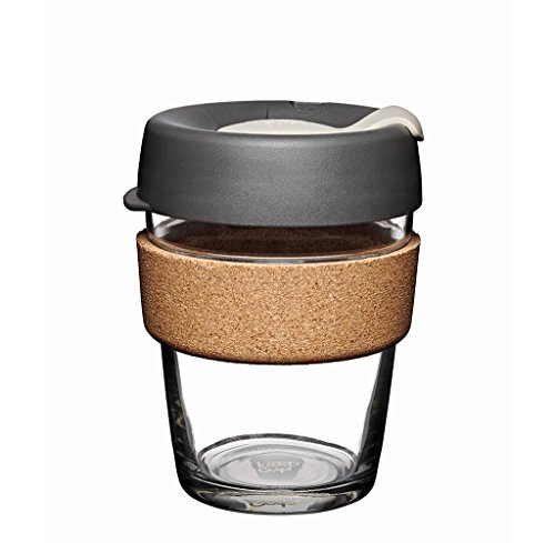 KeepCup 12oz Reusable Coffee Cup. Toughened Glass Cup & Natural Cork Band. 12-Ounce/Medium, Press