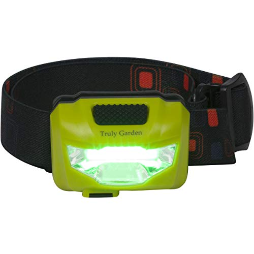 Truly Garden Green LED Headlamp USB Rechargeable - Forget Changing Batteries. 120 Lumen, Wide Angle headlamp is Great for Growers inspecting Flowering Plants in hydroponic Grow Rooms.