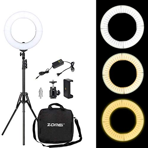 Zomei 14-inch Ring Light with Stand – Dimmable LED (41W 2700-5500K) Video Lighting Kit – for Camera, Smartphone, Photography, Makeup, YouTube Video Shooting