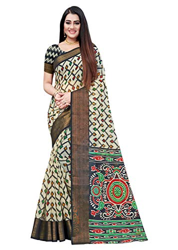 Calendar Women's Georgette Printed Saree Jacquard Lace Border Work Saree With Unstitched Blouse Piece TODAY OFFER ON AMAZON