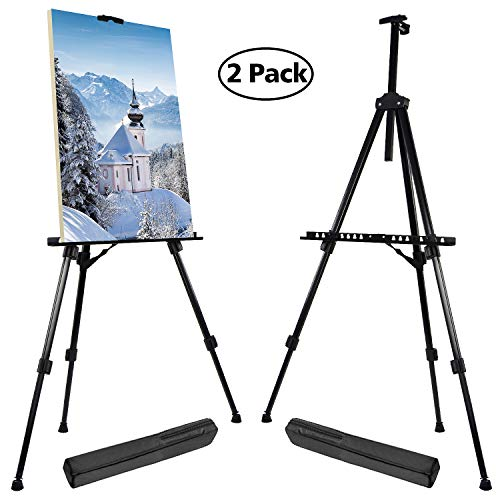 """T-Sign 66"""" Reinforced Artist Easel Stand, Extra Thick Aluminum Metal Tripod Display Easel 21"""" to 66"""" Adjustable Height with Portable Bag for Floor/Table-Top Drawing and Displaying, 2 Pack"""