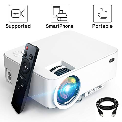 """Mini Projector - 3600Lux Hompow Smartphone Portable Video Projector 1080P Supported 176"""" Display, 50,000 Hours Led, Compatible with TV Stick/HDMI/VGA/USB/TV Box/Laptop/DVD/PS4 for Home Entertainment"""