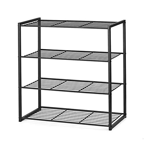 Titan Mall Shoe Organizer Free Standing Shoe Rack 4 Tier Shoe Rack Black Metal Shoe Rack 25 Inch Wide Shoe Tower Shelf Storage