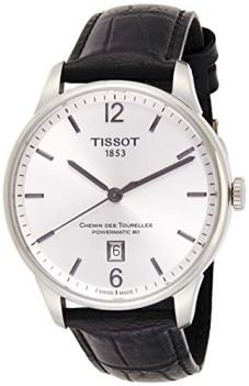 Tissot Men's Chemin Des Tourelles Stainless Steel Swiss-Automatic Watch with Leather Strap, Black, 20 (Model: T0994071603700)