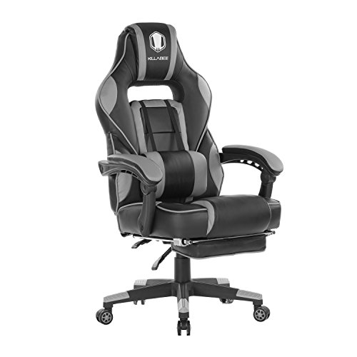 KILLABEE Reclining Memory Foam Racing Gaming Chair - Ergonomic High-Back Racing Computer Desk Office Chair with Retractable Footrest and Adjustable Lumbar Cushion, Grey
