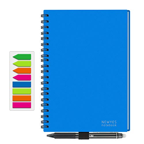 NEWYES Reusable Smart Notebook, A5 Size Wirebound Notebook with Cloud Storage - 50 Pages Wide Rule & 50 Pages Dotted
