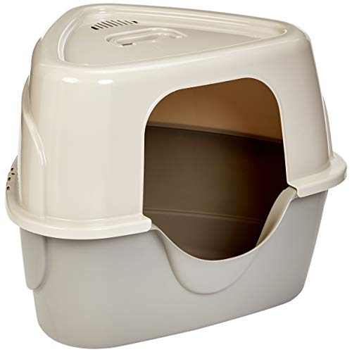 AmazonBasics Triangle Corner Covered Cat Litter Box - 26 x 20 x 23 Inches, Beige
