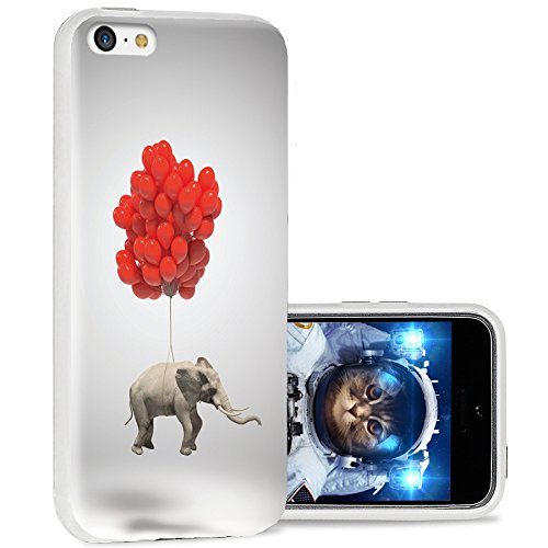 iPhone 5c case Cool, iPhone 5c case Cute, ChiChiC Full Protective Stylish Case Slim Durable Soft TPU Cases Cover for iPhone 5c,Cute Elephant red Balloon Fly