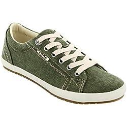 Taos Footwear Women's Star Olive Wash Canvas Sneaker 7.5 M US