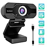 TedGem PC Webcam, 1080P Full HD Webcam USB Desktop & Laptop Webcam Live Streaming Webcam with Microphone Widescreen HD Video Webcam 90-Degree Extended View for Video Calling, Conferencing, Recording