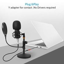 Professional-Studio-Condenser-Microphone-Computer-PC-Microphone-Kit-with-35mm-XLRPop-FilterScissor-Arm-StandShock-Mount-for-Professional-Studio-Recording-Podcasting-Broadcasting-Black