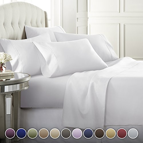 Danjor Linens 6 Piece Hotel Luxury Soft 1800 Series Premium Bed Sheets Set, Deep Pockets, Hypoallergenic, Wrinkle & Fade Resistant Bedding Set(Queen, White)